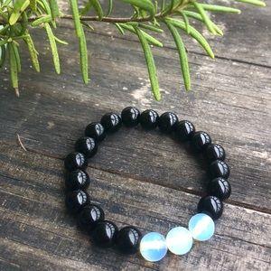 New Black Jasper And Moonstone Opal Bead Bracelet